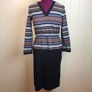 Vintage 70s/80s Striped Knit Peplum V Neck Dress